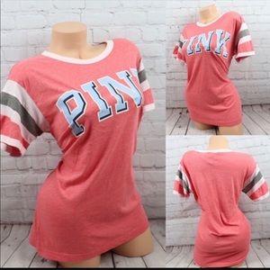 VS PINK Logo Print Short Sleeve Tee Shirt